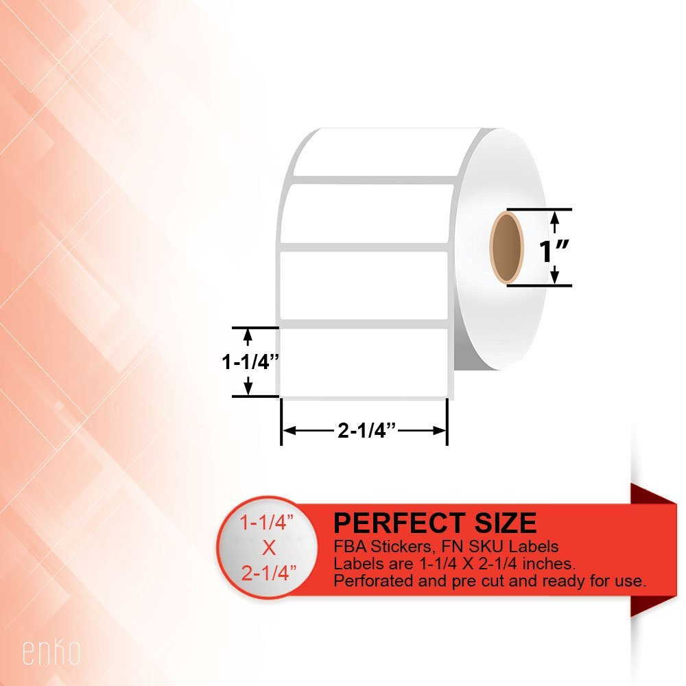2-1/4″ x 1-1/4″ Direct Thermal Labels [3 Rolls / 3000 Labels]